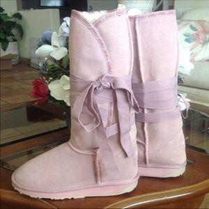 Pink emu boots fur tie bow NEW wool Australia